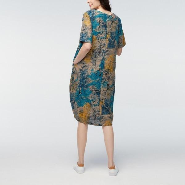 Vintage Maternity Dress Blue Model Back