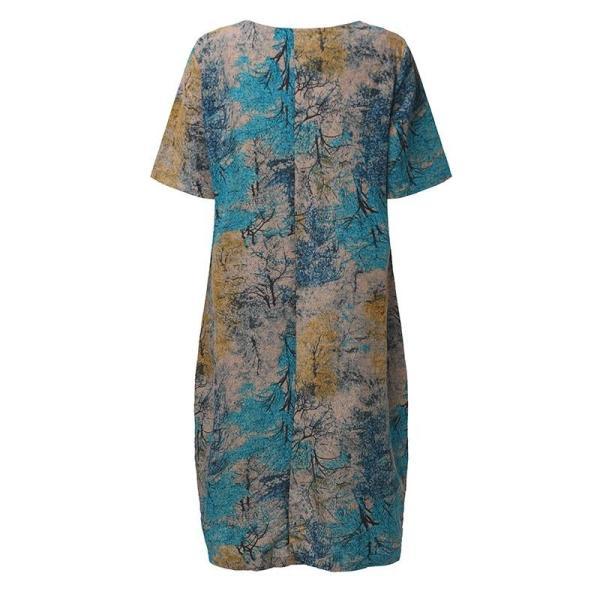 Vintage Maternity Dress Blue Back