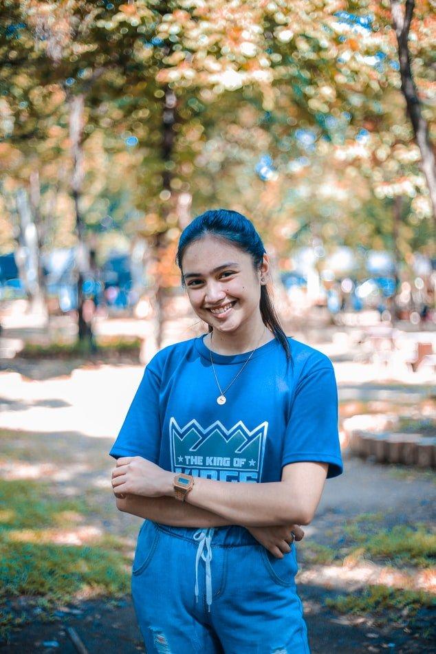 Happy Girl in Blue T-shirt
