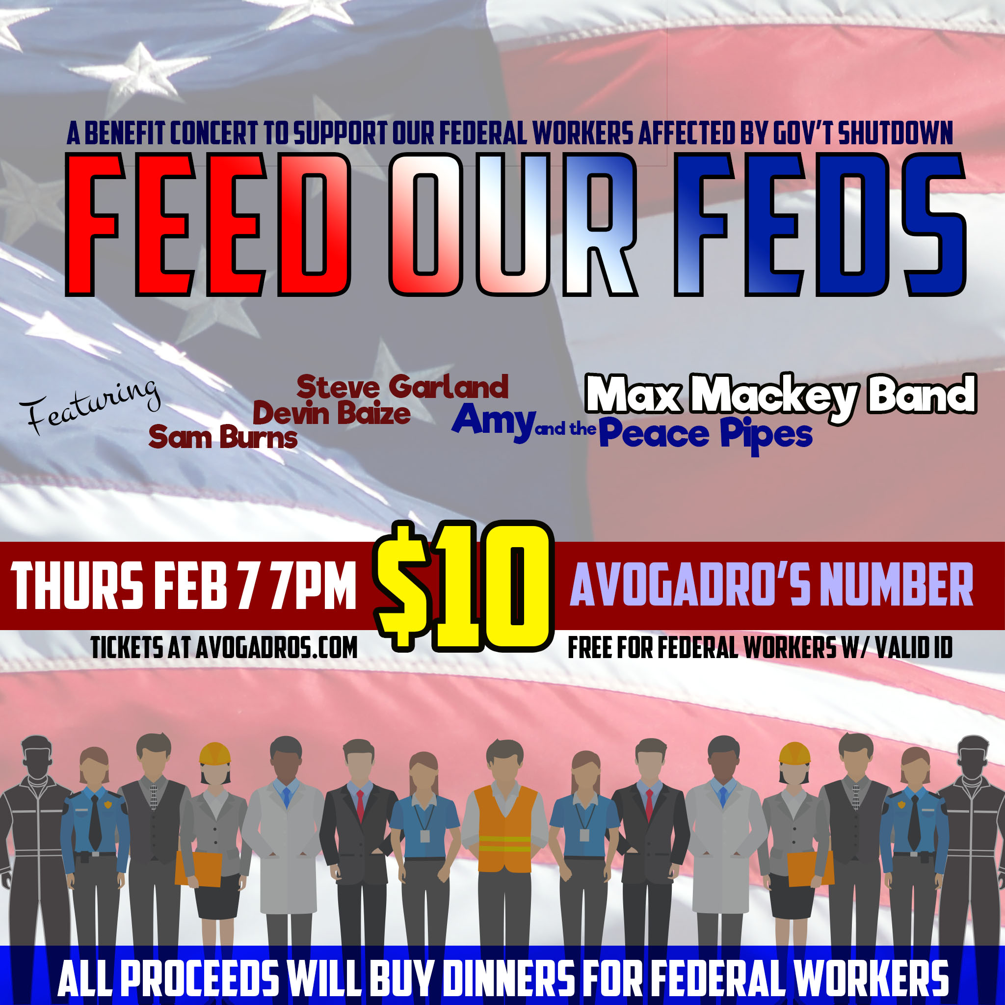 """""""Feed Our Feds"""" - A benefit concer to support our federal workers affected by Gov't Shutdown"""