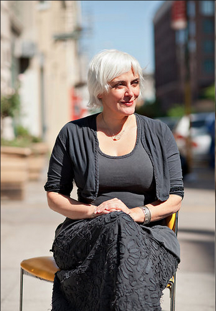 Natalie Chanin, the founder of the fashion label Alabama Chanin, held a workshop at Partners & Spade in Manhattan as part of the MakeShift conference. It was dedicated to rehabilitating chairs. Credit: Robert Wright for The New York Times