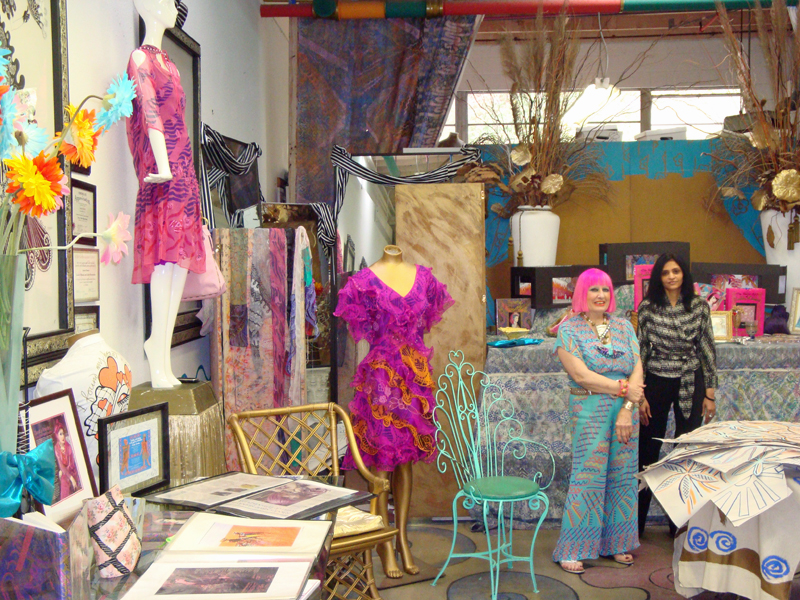 Zandra Rhodes in her studio
