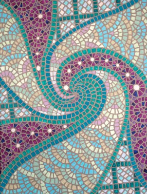 """Turquoise Spiral Faux-zaic"", 18 x 22 Acrylic on canvas, SOLD"