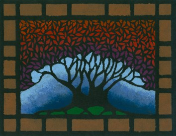 """""""Blue Tree"""", 8.5 x 11, acrylic on paper, 2005, SOLD"""