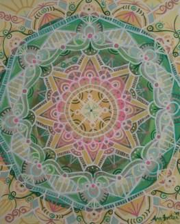 """Spring Mandala"" 11 x 14 on canvas paper, $150 (framed)"