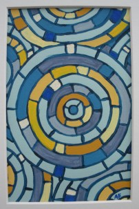 """Moving Mosaic: Blue"" 4 x 6, acrylic on paper, $20 (includes black frame)"