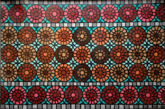 """Floor Mat, 24 x 36"""", acrylic on linoleum, 2015, DONATED to the Montshire Museum auction"""