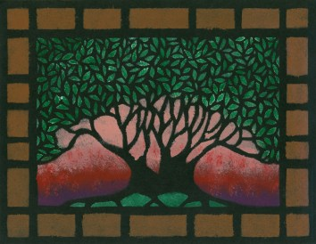 """""""Pink Sky Tree"""", 8.5 x 11, acrylic on paper, 2005, SOLD"""