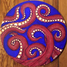 """""""Tentacles"""", 20"""" circle, acrylic on canvas, 2015, SOLD"""