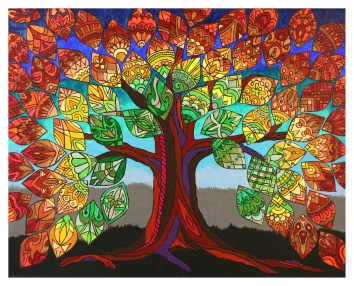 """Tree of Life (1 of 3), 16 x 20"""", acrylic on canvas, 2012, SOLD"""