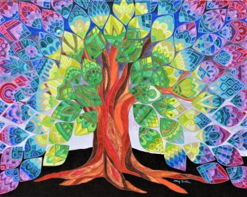 Tree of Life (2 of 3), 22 x 28, acrylic on canvas, 2012, SOLD