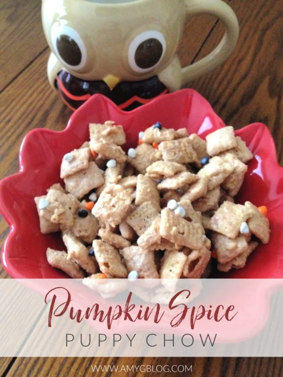 This pumpkin spice puppy chow is the perfect fall version of a classic treat!