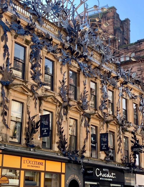 Be sure to look up to see the beautiful artwork and architecture above the shops on Buchanan Street!