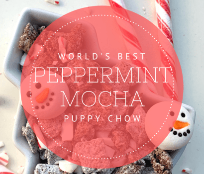 Try this fun spin on a favorite holiday drink! Instead of sipping your peppermint mocha, try munching on some peppermint mocha puppy chow or muddy buddies!
