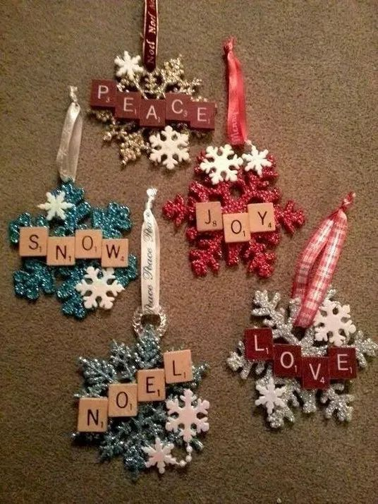 Snowflake ornaments using Scrabble tiles! DIY Christmas ornaments for children.