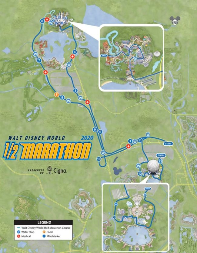 2020 Walt Disney World half marathon course.