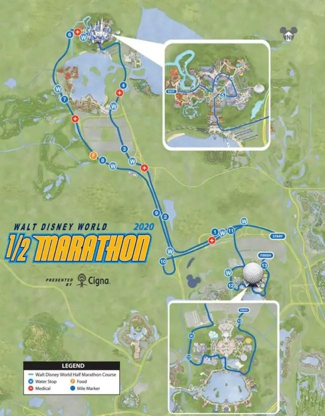 2020 Walt Disney World half marathon course.