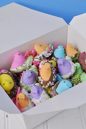 Chocolate dipped Peeps, a fun Easter treat the whole family can make and enjoy!