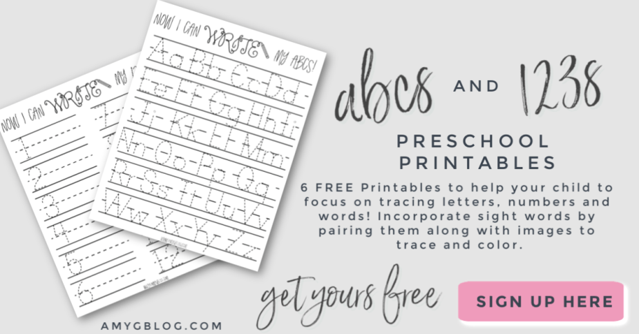 6 free educational preschool printables for your 3-6 year old! Letters, numbers, colors and more for your child to practice their writing skills.