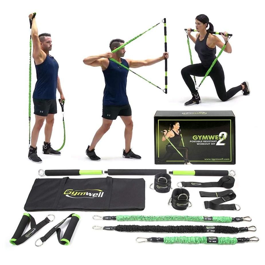 Gymwell Total Home Gym. Everything you need in a home gym system. Simulates cables, dumbells and barbells to get a total body workout anywhere. #homefitness #workoutathome #workout #totalbodyworkout #hiitworkout