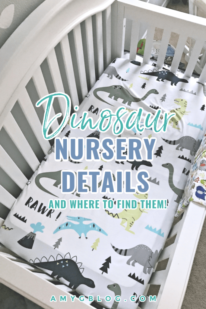 Take a look at all the details in our dinosaur nursery along with links to where we purchased everything! #dinonursery #dinosaurroom #dinosaurs #dinotheme