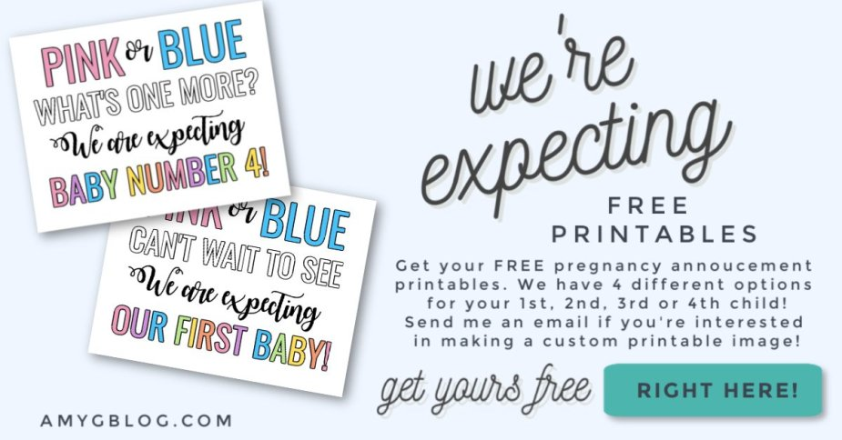 Pink or blue what will it be? We're expecting, our first baby! Get your we're expecting free printable for your 1st, 2nd, 3rd or 4th baby! You can also get a customizable image. Just reach out to be!