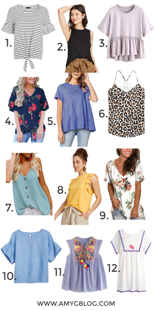 Check out these 12 cute and comfy tops for spring! These are shirts that you can wear around the house or out and about once we're able to socialize again! #quarantinefashion #womensfashion #springtopsforwomen #springfashion #shopforspring
