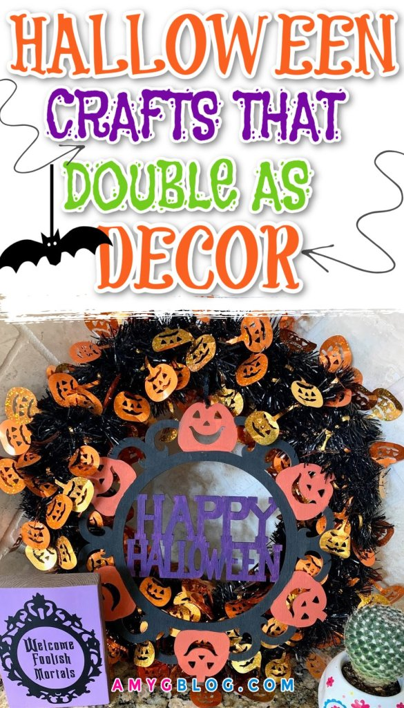 These 8 Halloween crafts can double as home decor for spooky season! Get your kids involved and create a fun spooky space everyone will love! #halloween2020 #halloweendecor