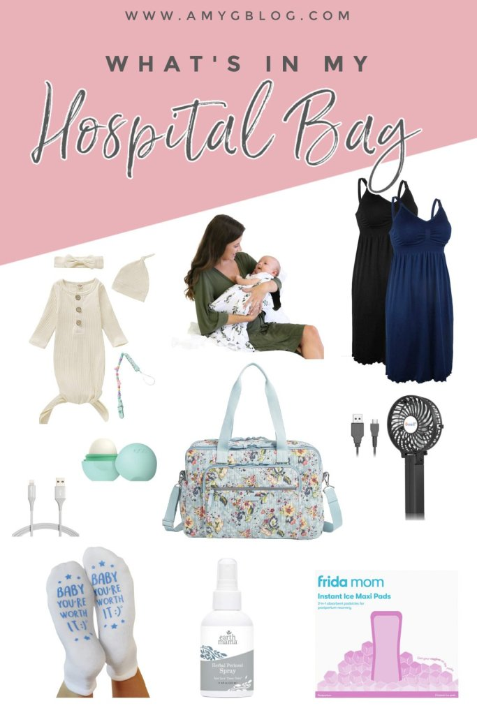 This hospital bag checklist is complete with everything you need for mom and baby to get you from labor to postpartum! #pregnancy #hospitalbagessentials #postpartum #labor #birth