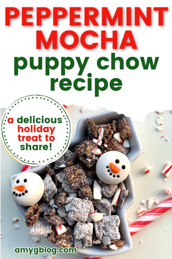 This peppermint mocha puppy chow or muddy buddy recipe is the perfect addition to your winter treat list! The combination of chocolate, peppermint and coffee brings out the holiday cheer! #holidayrecipe #peppermintmocharecipe #holidaytreat