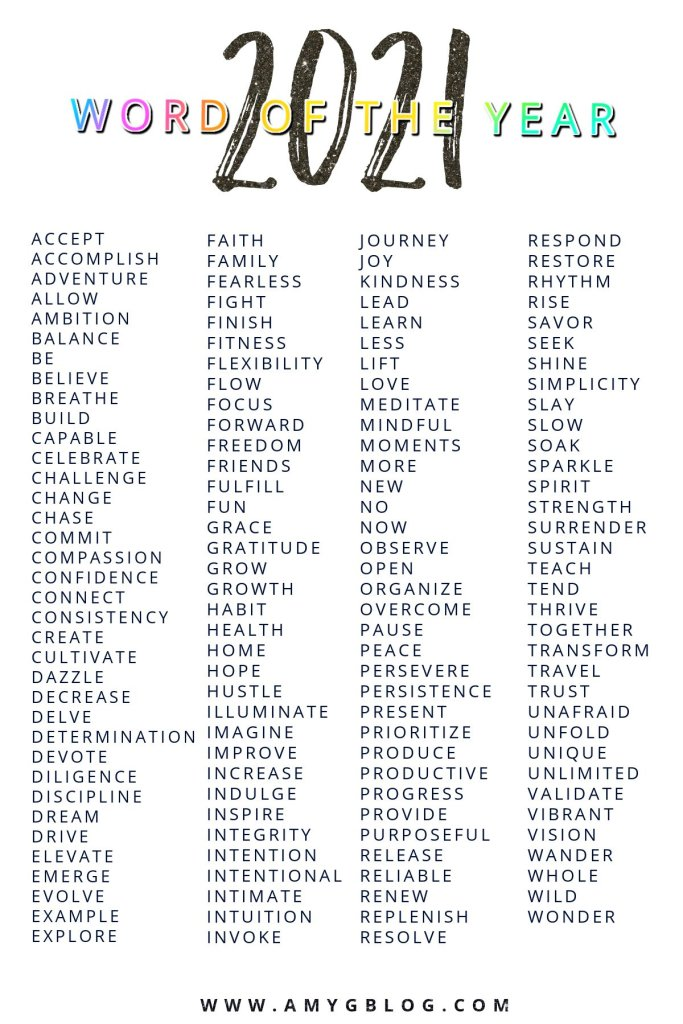 Choose your 2021 word of the year to help set your goals and make this year one of the best yet! Your word of the year just needs to be something to focus on. Let one of these 100+ words guide you! #newyeargoals #goalsetting #wordoftheyear #newyearword #2021