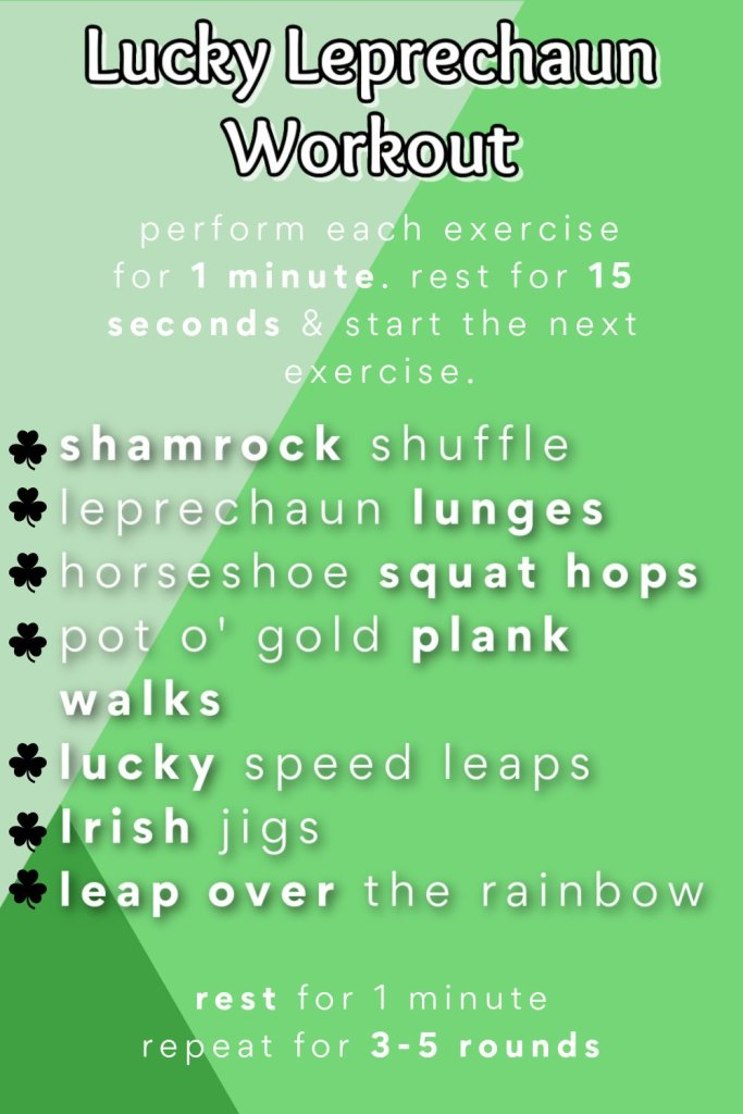 St. Patrick's Day themed workout that can be done with your kids!