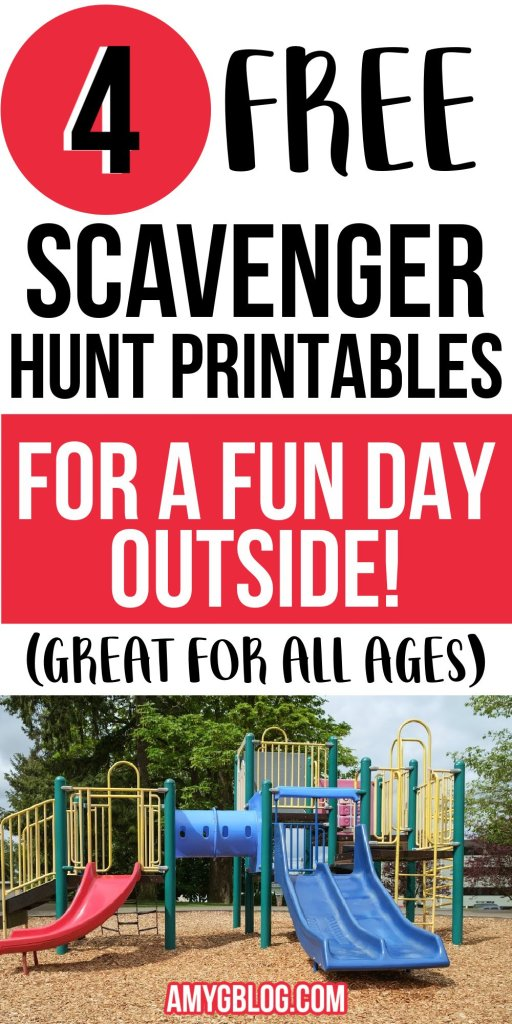 Grab your free outdoor scavenger hunt printables! There are 4 options to choose from to keep your kids busy and outside! #activitiesforkids #toddlerscavengerhunt #outdooractivities