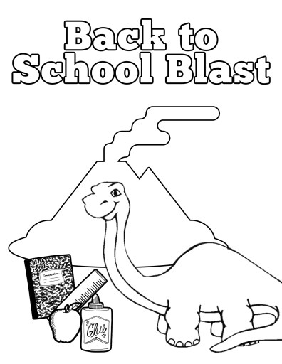 Dinosaur Back to School Blast Coloring Page