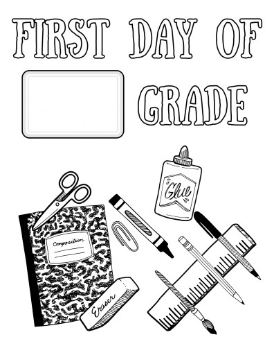 First Day of School Fill in the Blank Coloring Page