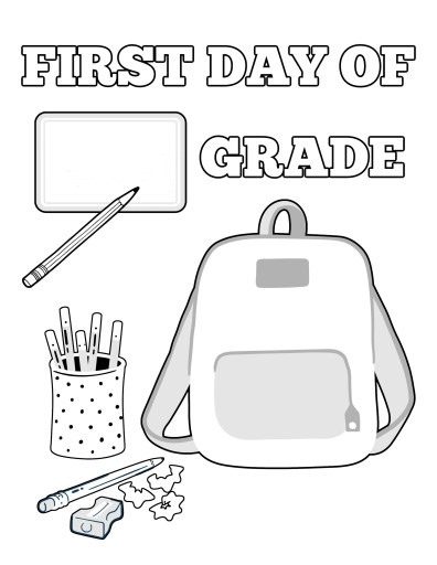 First Day of School Fill in the Blank 2 Coloring Page