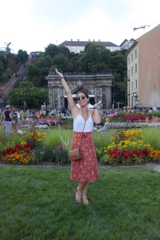 My beautiful roommate Becky at the square in front of Buda Castle