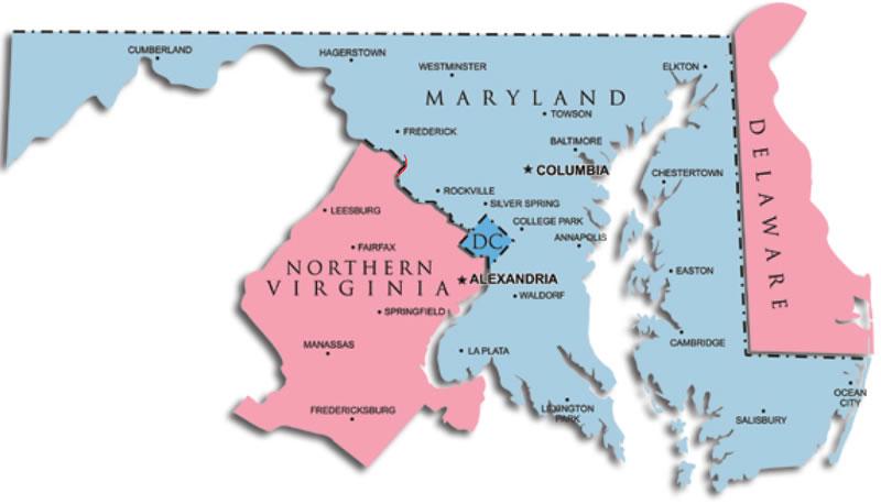 Washington DC state map