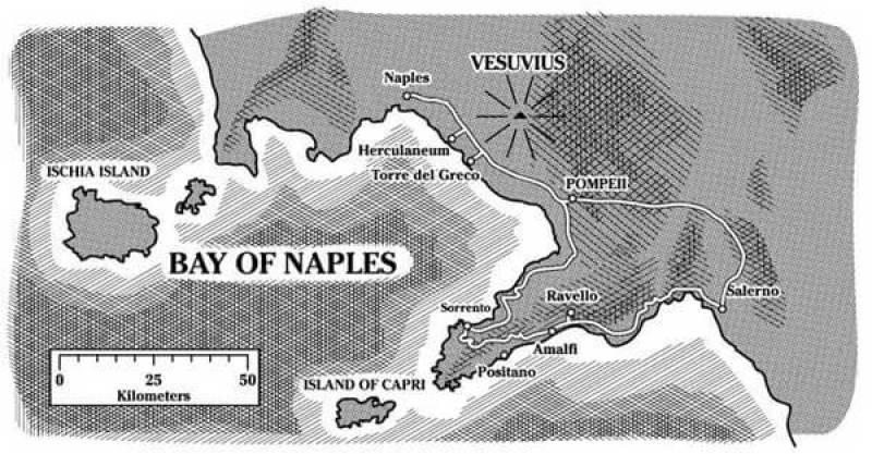 Map of Naples   Courtesy of dogsofpompeii.com