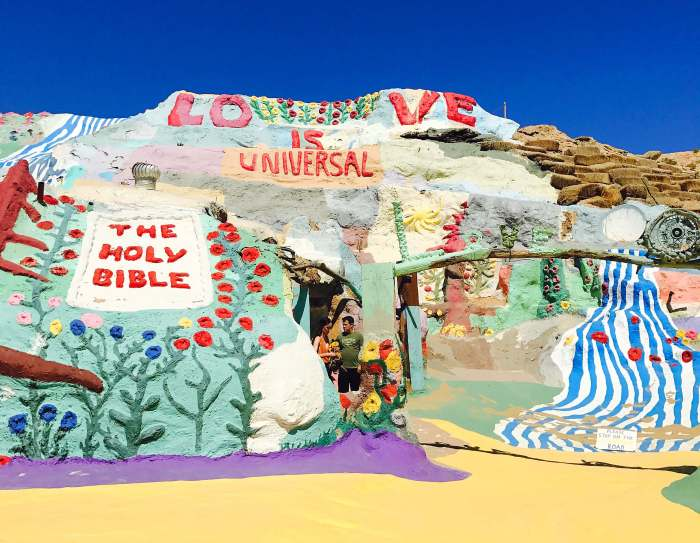 About 1.5 hours outside of Palm Springs is the manmade rainbow-colored site called Salvation Mountain. It is a must see that will truly capture your heart.