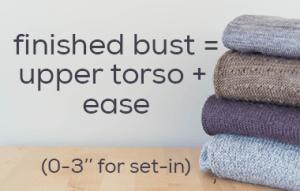 finished bust = upper torso + 0-3'' of ease