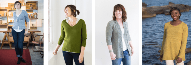 Four sweaters in increasingly-longer lengths.