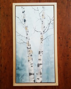 """12""""x24"""" Birches w/ Maple Frame - SOLD"""
