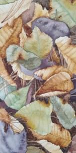 """Leaf Pile 2 - 6""""x12"""" Original Watercolor"""