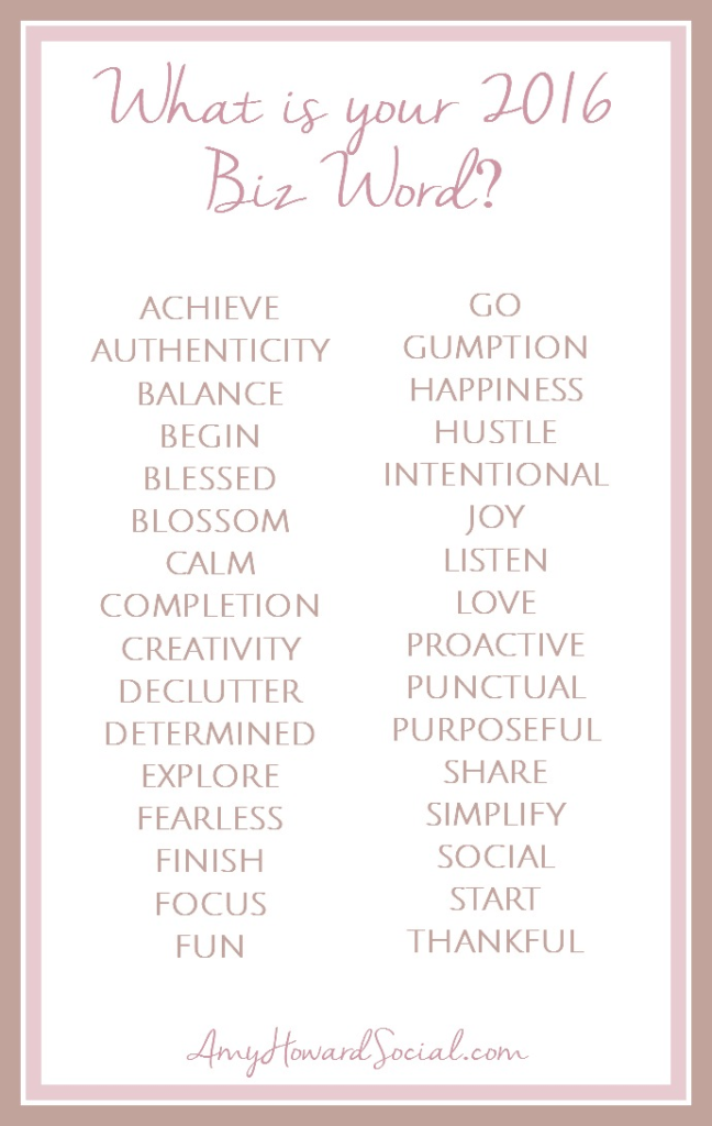 What is your 2016 Biz Word? Choose a word from this list and rock it in your biz for the 2016 year! This can also apply to your personal life - win/win!