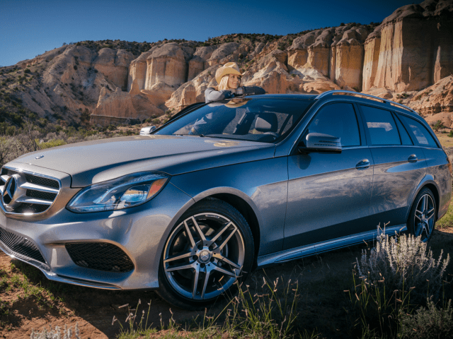 Amy and a Mercedes-Benz E350 Wagon in the Southwest Desert