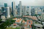 Aerial view of Boat Quay and business district , Singapore .