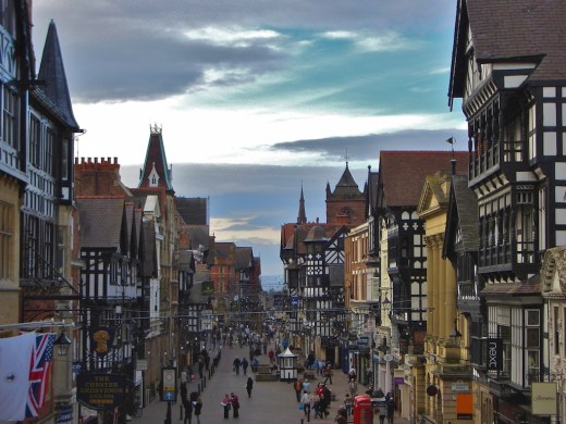 A view of Eastgate Street in Chester, England.