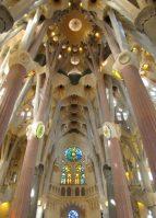 Tree-like columns stretch towards the apex of La Sagrada Familia.