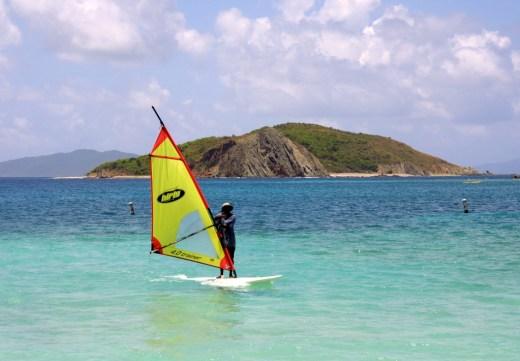 Dead Man's Chest island with windsurfer